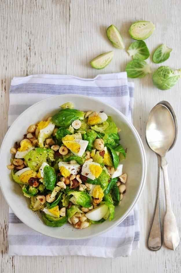Brussels Sprouts and Egg Salad with Hazelnuts