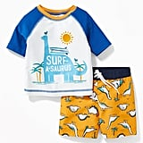 Old Navy Graphic Rash Guard and Trunks Set