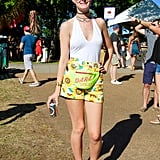 We spotted the overly saturated color of these daisy-print American Apparel shorts from across the park!