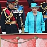 The queen and General Sir David Richards attended the Armed Forces Parade and Muster in Windsor, England. Over 2,500 troops took part in the Diamond Jubilee Muster.