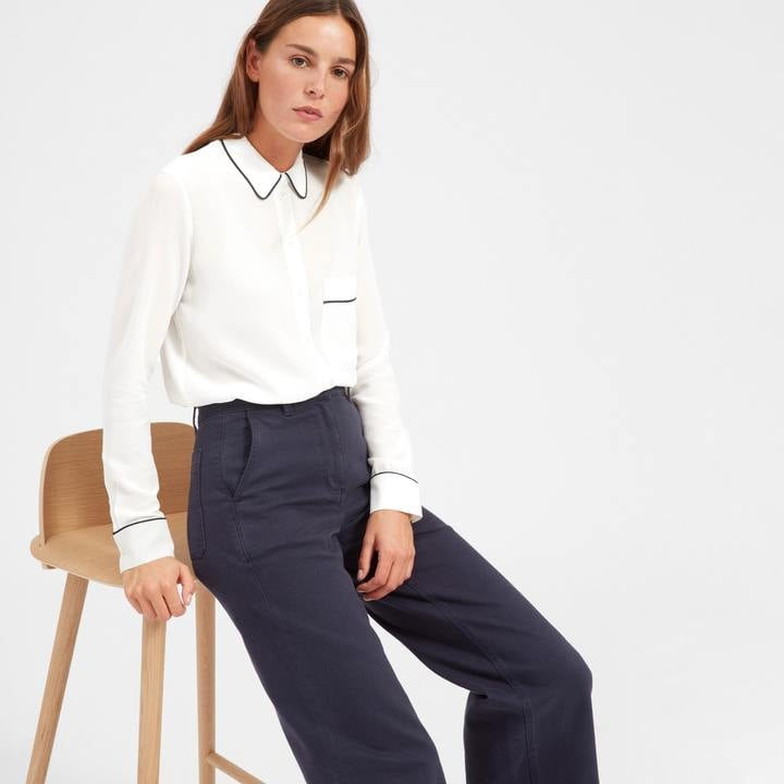 Everlane Piped Silk Pocket Shirt