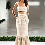 A coordinating crop top and maxi skirt.