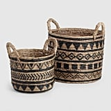 Black and Natural Banana Leaf Tribal Amaya Baskets