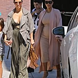 Proving again that cutouts have a place for daytime, Kourtney covered up a little skin with an open jacket.