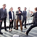 Tom Hiddleston goofed off with his onscreen rivals.