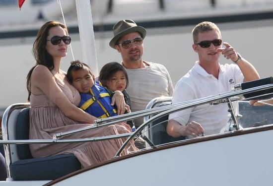 Photos of Pregnant Angelina Jolie, Brad Pitt, Pax Jolie-Pitt, Maddox Jolie-Pitt in France