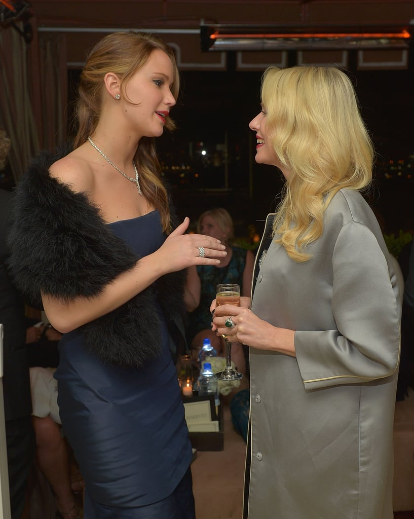 Jennifer Lawrence and Naomi Watts kept warm in fur and coats.