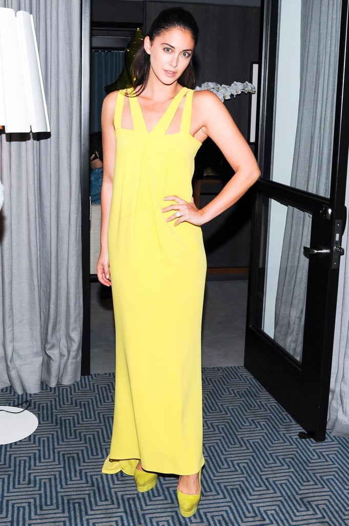 Erika Bearman couldn't be missed in her yellow gown at Erica Domesek's book launch party.