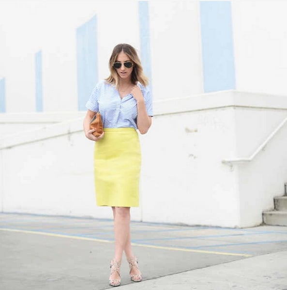 A Coloured Skirt, Striped Button-Down, and Nude Heels