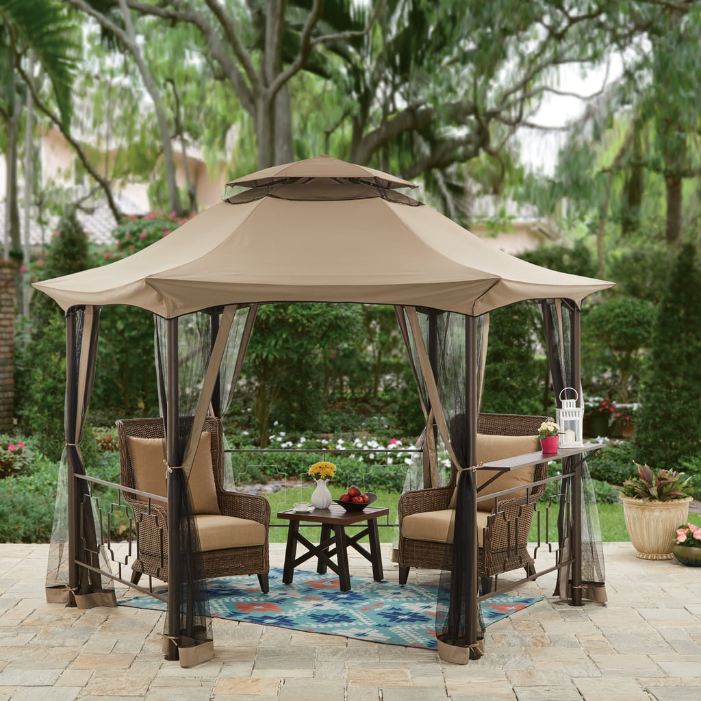 Hexagon Gazebo With Curtains