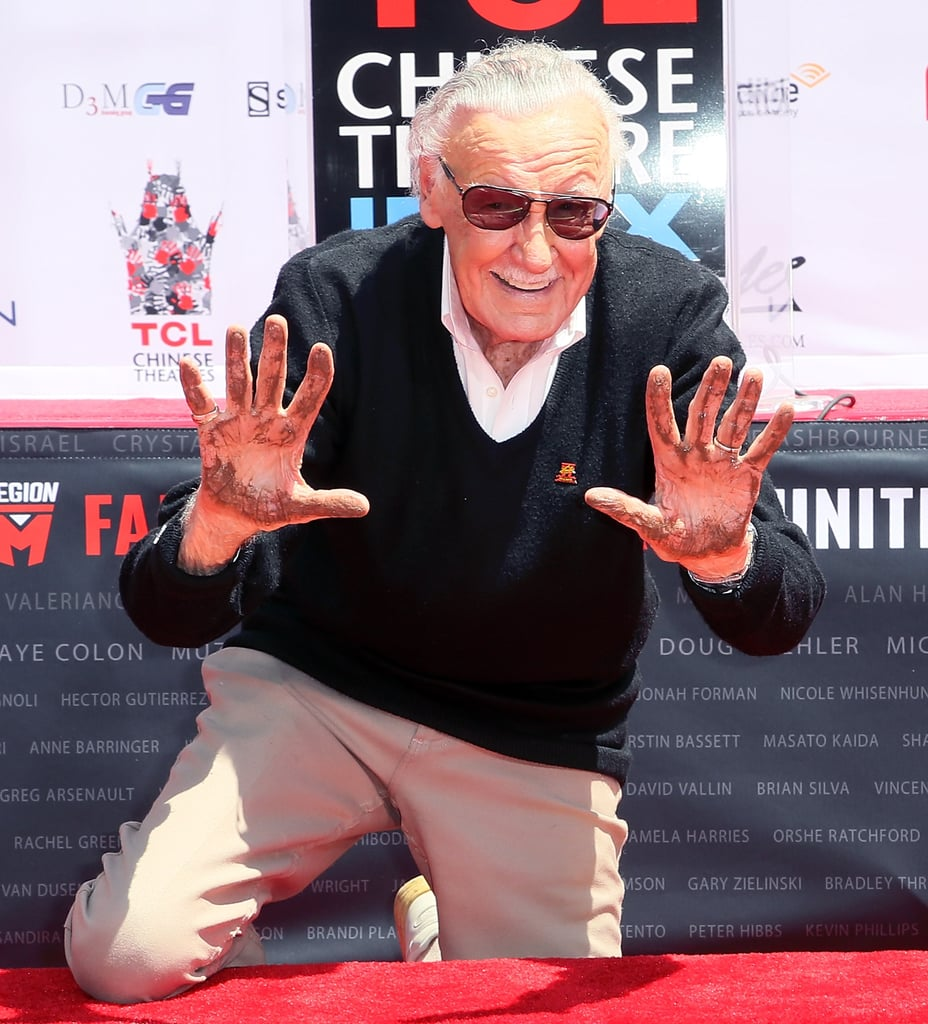 "Stan Lee cemented his illustrious career during a hand and footprint ceremony in LA on Tuesday. The comic book legend was joined by director Kevin Smith and Marvel stars Chadwick Boseman, Clark Gregg, and Nichelle Nichols, who starred as Lieutenant Uhura in the original Star Trek movies and TV series. Also on hand for the celebration was Stan's daughter, J.C. Lee. After being welcomed to the stage with kind words from the stars, Stan addressed the crowd with a brief yet heartfelt speech. ""I've been the luckiest man in the world because I've had friends and to have the right friends is everything,"" the 94-year-old said. ""All I can say is . . . I thank you from my whole heart! You've made this day, certainly, totally unforgettable. Excelsior!"" Stan also mentioned his late wife, Joan, saying, ""I've been lucky to have a wonderful wife. And I'm lucky to be standing here in front of you now wishing desperately that I had written a speech!"" The actress and former model passed away on July 6 at the age of 93, and she and Stan would have celebrated their 70th wedding anniversary this year. It's already been a big week for Stan, who was honored with the Disney Legends award during the D23 Expo on Saturday."