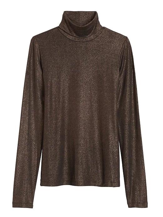Metallic Soft Stretch Turtleneck T-Shirt