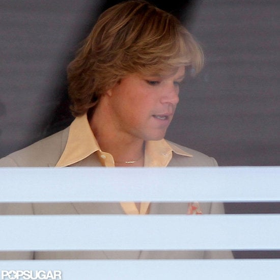 Matt Damon was in costume yesterday, alongside his costar Michael Douglas, to work on their Liberace movie, Behind the Candelabra. The TV picture, based on the life of the pianist and vocalist, is being directed by Steven Soderbergh. Steven and Matt have worked together multiple times before on the Ocean's films and last year's Contagion. Michael Douglas plays Liberace and Matt has the role of the singer's 39-years-younger lover, Scott Thorson. Steven, Michael, and Matt's finished product will air on HBO sometime in 2013.