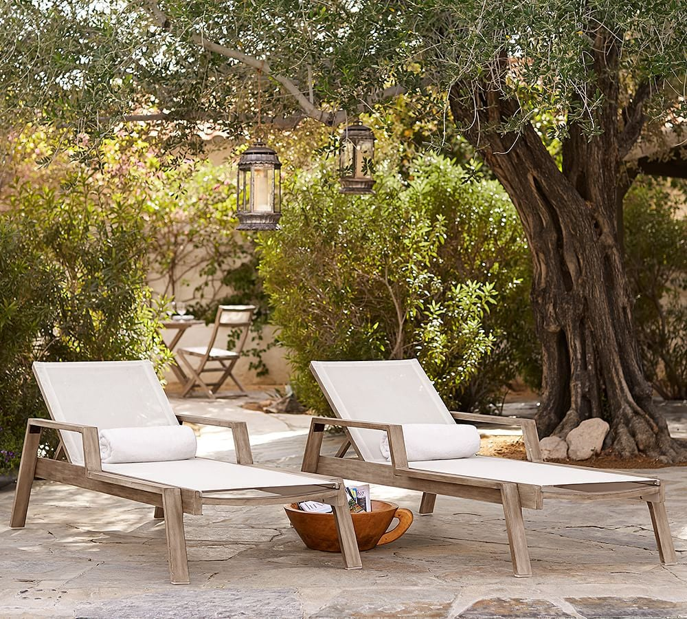 Pottery Barn Indio Eucalyptus & Mesh Stacking Chaise Lounge