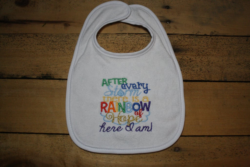 Rainbow Baby Embroidered Bib
