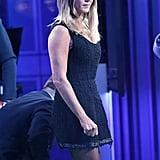 Jennifer Aniston Fishnet Tights in London Nov. 2016