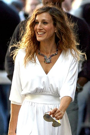 Sarah Jessica Parker as Carrie Bradshaw Filming Sex and the City 2 in White Dress and Colorful Necklace