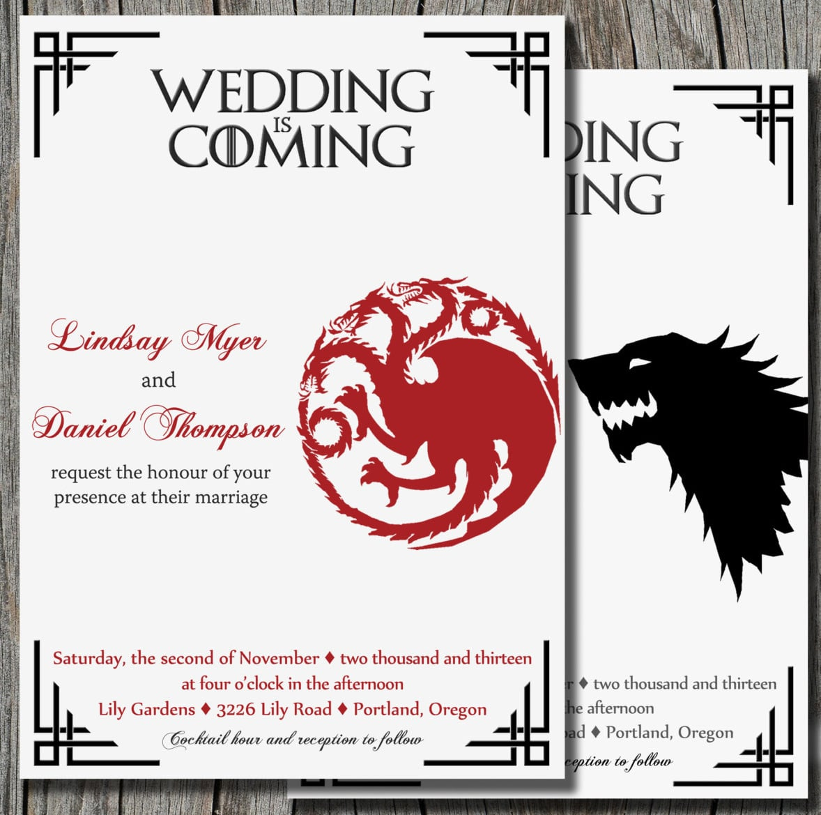 Give your wedding the Game of Thrones treatment right from the start with this standout wedding invitation ($16 for digital file).