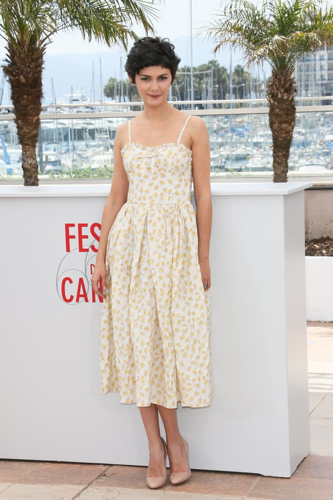 Audrey Tautou, the Cannes Film Festival mistress of ceremonies, kicked off the event in a retro-style midi-length dress and nude patent pumps.
