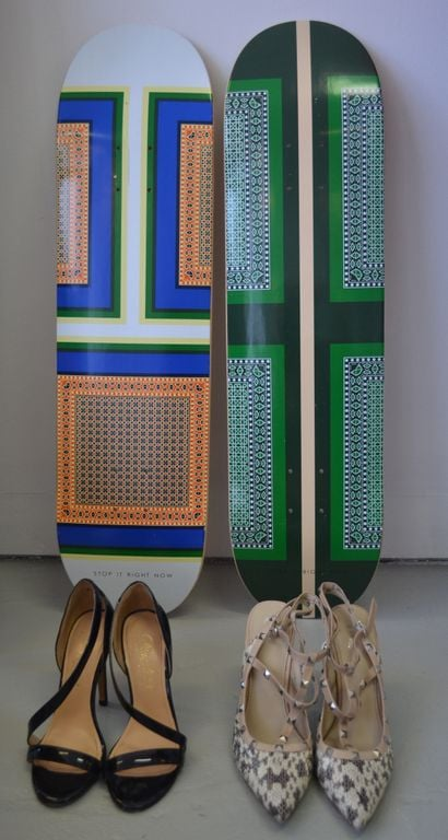 Love these Céline-inspired skate decks. Possibly the coolest planks of wood going round.