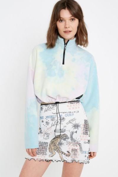 a8b2bcd458d UO Tie-Dye Fleece Track Jacket | Jennifer Lopez in Guess Sweatshirt ...