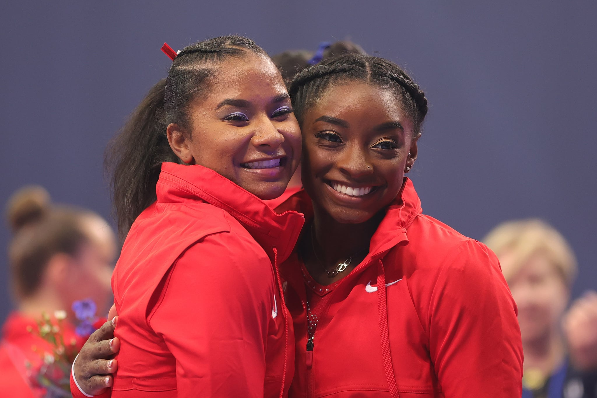 ST LOUIS, MISSOURI - JUNE 27: Jordan Chiles and Simone Biles pose following the Women's competition of the 2021 U.S. Gymnastics Olympic Trials at America's Center on June 27, 2021 in St Louis, Missouri. (Photo by Carmen Mandato/Getty Images)