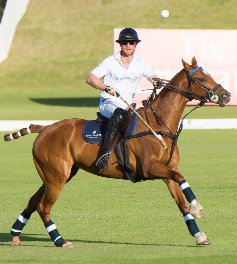 Prince Harry participated in the annual Royal Salute Polo Cup at the Val de Vie Estate in Cape Town, South Africa, on Saturday. Harry posed for photos with Sentebale's chairman Philip Green, Prince Seeiso of Lesotho, and Sentebale Polo Ambassador Nacho Figuera before showing off his impressive moves on the polo field. The event was organized by Sentebale, a charity Harry and Seeiso founded in memory of their mothers, and helped raise funds for children who are victims of poverty and Lesotho's HIV/AIDS epidemic. Just a few days ago, Harry made his return to South Africa and reunited with Mutsu Potsane, a child who he previously met during his Africa tour in 2004. Keep reading for more of Prince Harry's South African journey, and then check out his funniest faces of all time.