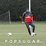 David Beckham joined his new teammates for practice in London.