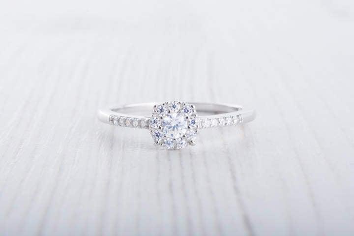 Etsy Lab Diamond Halo Engagement Ring