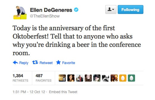 Ellen DeGeneres gives good excuse.