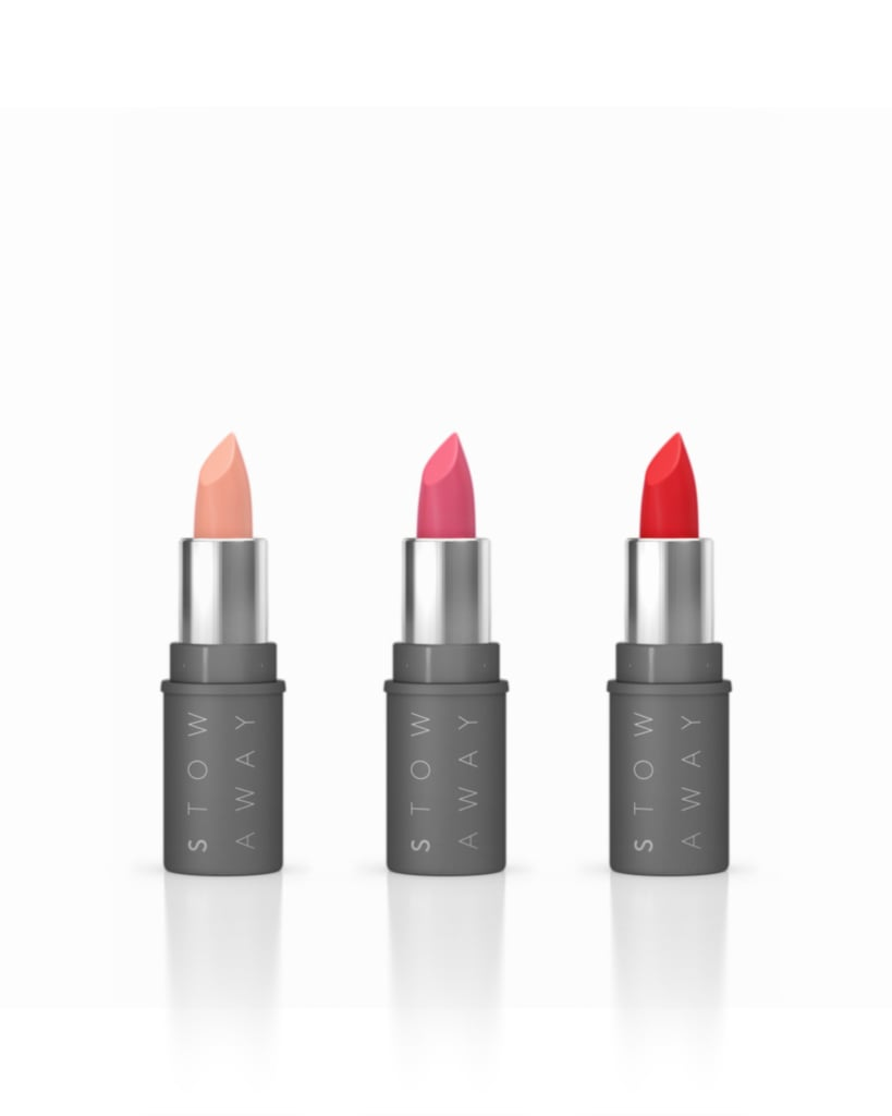 At your partner's house, preferably somewhere out of sight. In your favorite party clutch (because this is the one lipstick that will actually fit).  Try: Stowaway Creme Liptick ($14)