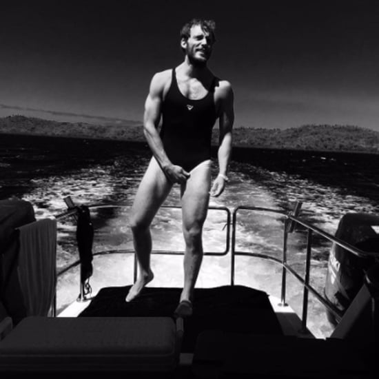 Sam Claflin Wearing Shailene Woodley's Bathing Suit
