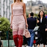 Add Edge to a Girly Slip Dress With a Pair of Over-The-Knee Boots