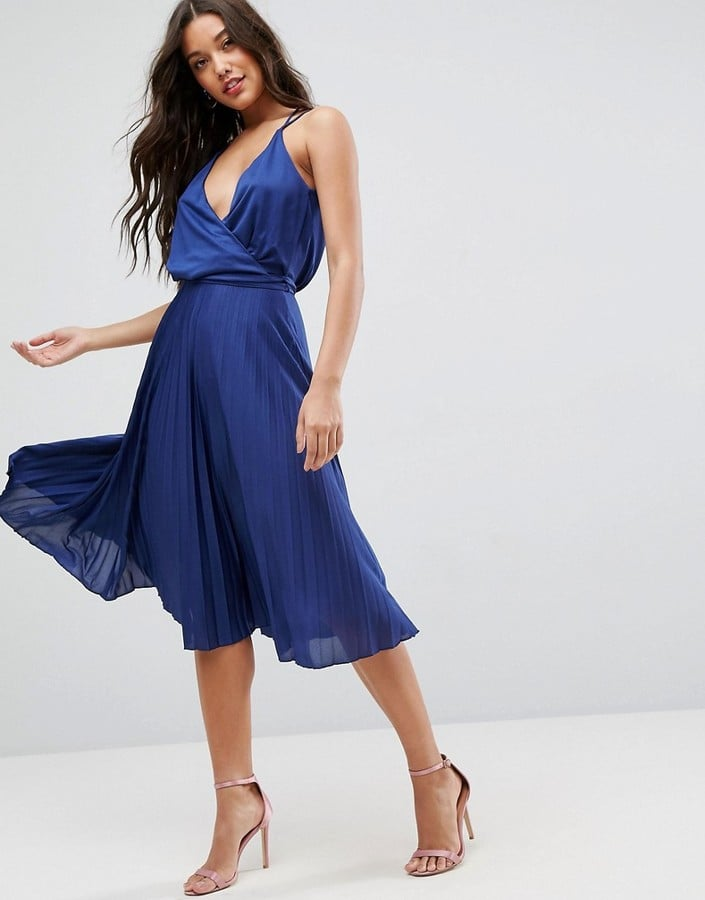 Asos Blouson Wrap Midi Dress With Tie Waist