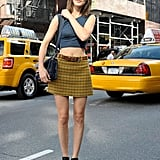 Hanneli Mustaparta bared her midriff and showed off a pair of pumped-up high-top wedges.