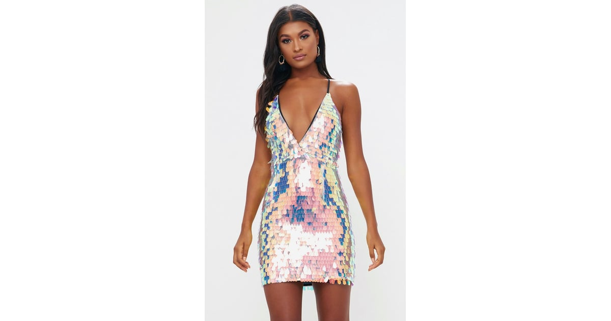 c7d9fb311adc Pretty Little Thing Nude Strappy Plunge Sequin Bodycon Dress ...