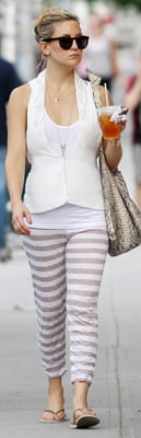 Kate Hudson Wears Striped Lounge Pants in NYC