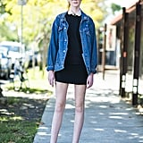 Warm up your sweet day dress with a staple jean jacket for a killer contrast. Source: Le 21ème   Adam Katz Sinding