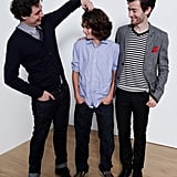 Yonah Lewis, Gabriel del Castillo Mullally, and Calvin Thomas of Amy George have a moment during a portrait session at the Toronto International Film Festival.