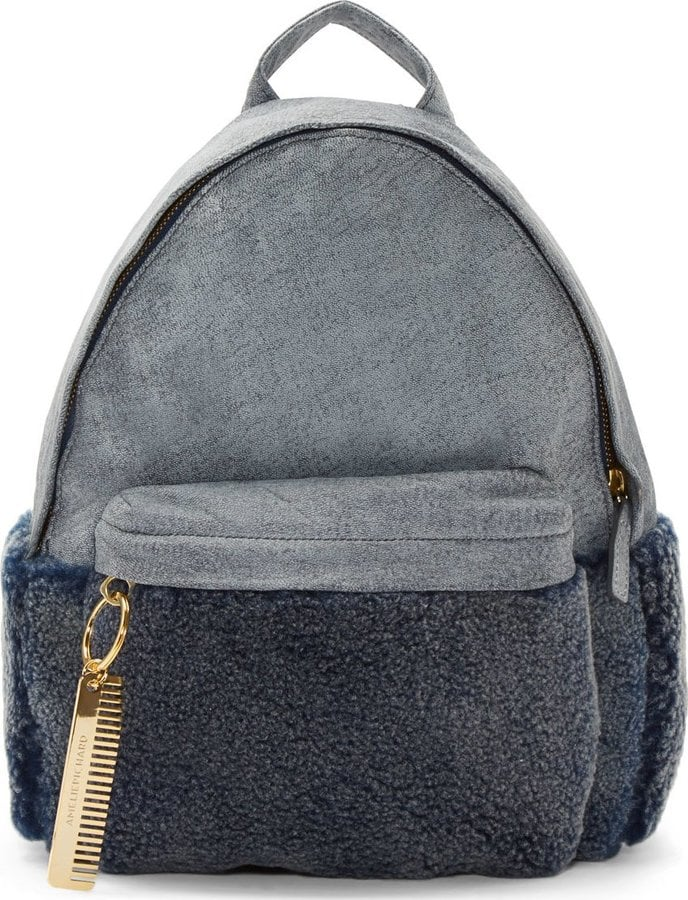 Amélie Pichard Gray Leather and Shearling Backpack