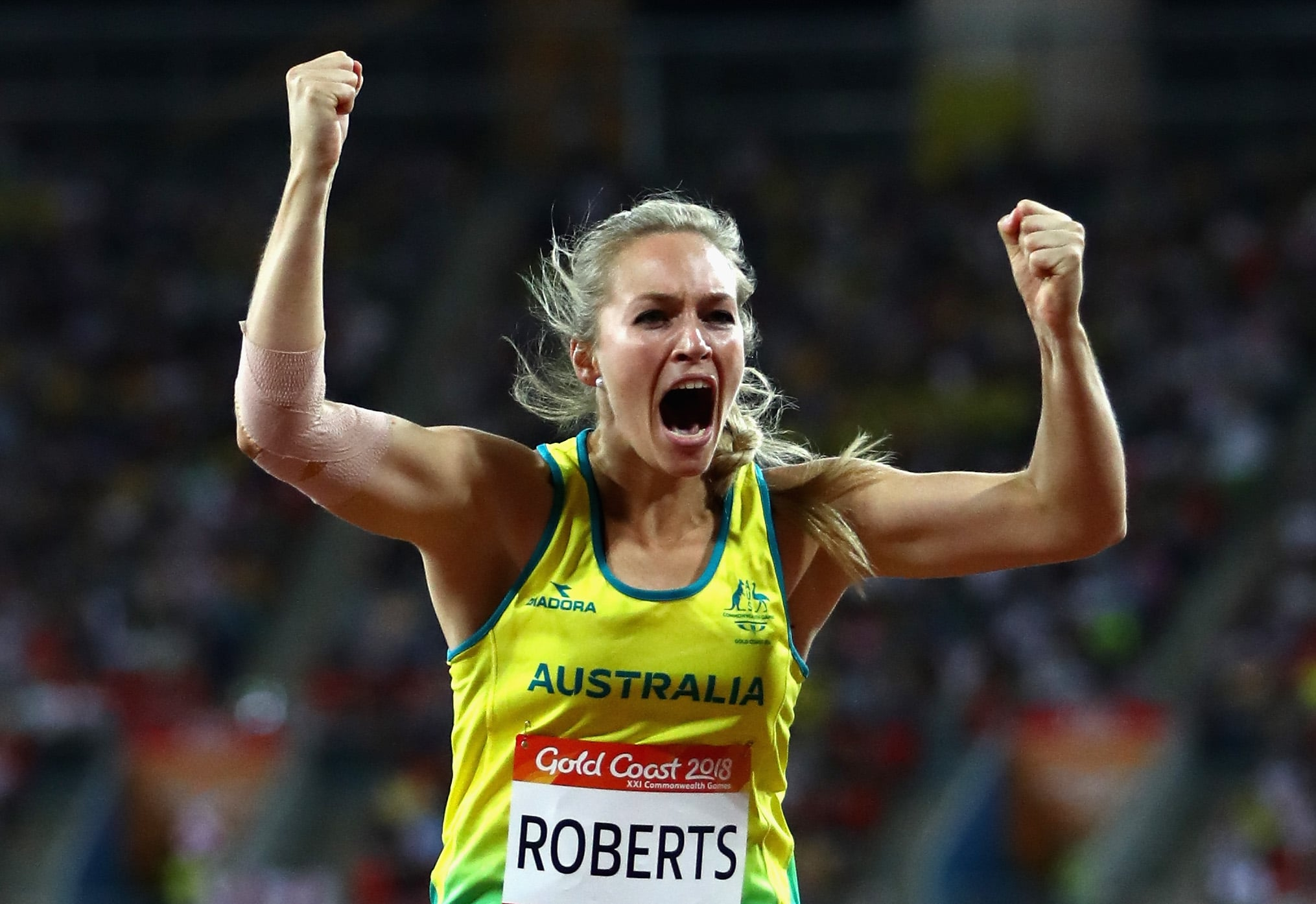 GOLD COAST, AUSTRALIA - APRIL 11:  Kelsey-Lee Roberts of Australia celebrates winning silver in the Women's Javelin final during athletics on day seven of the Gold Coast 2018 Commonwealth Games at Carrara Stadium on April 11, 2018 on the Gold Coast, Australia.  (Photo by Michael Steele/Getty Images)