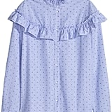 H&M Blouse with Ruffles - Blue/dotted - Ladies ($50)