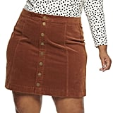 EVRI Plus Size Button Front Skirt