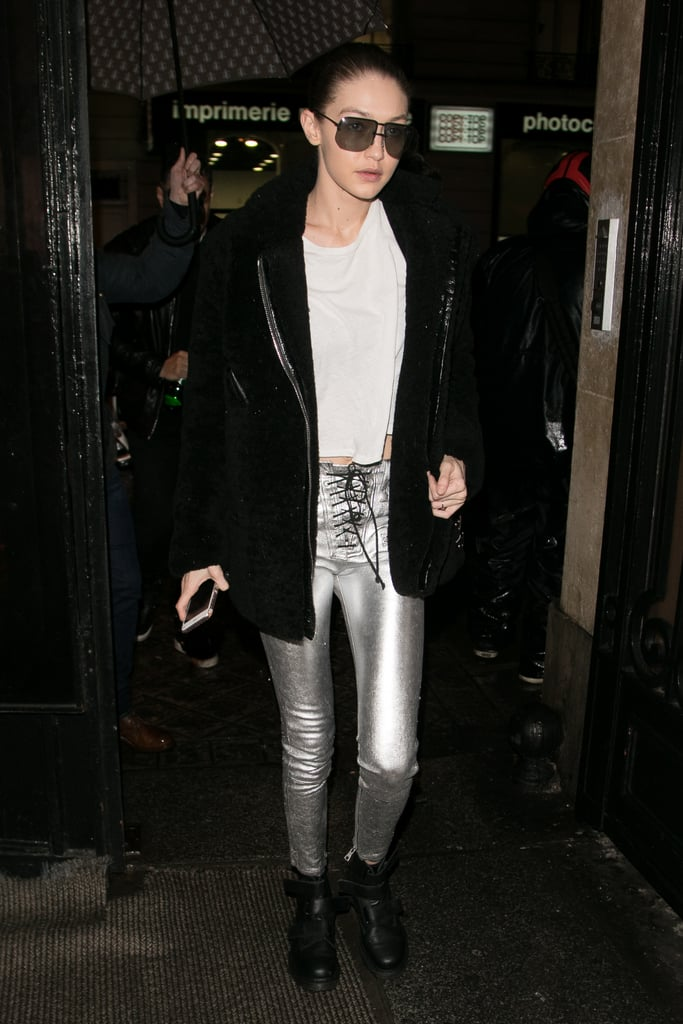 Gigi sealed the deal in her skintight Unravel Project skinnies, styling them in Paris with a moto coat and casual tee.