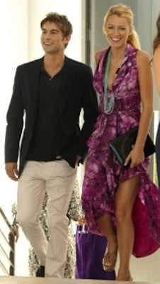 Serena van der Woodsen in Purple Catherine Malandrino Dress