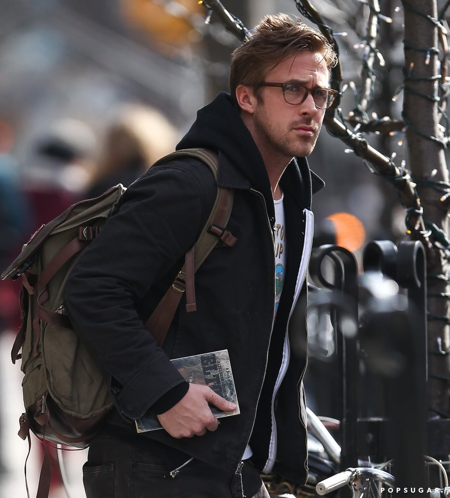 Ryan Gosling carried a backpack and book while in NYC on Wednesday.