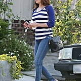 A classic striped top and skinny denim cam always get a major lift with corked platform sandals like in this LA look by Eva Longoria.