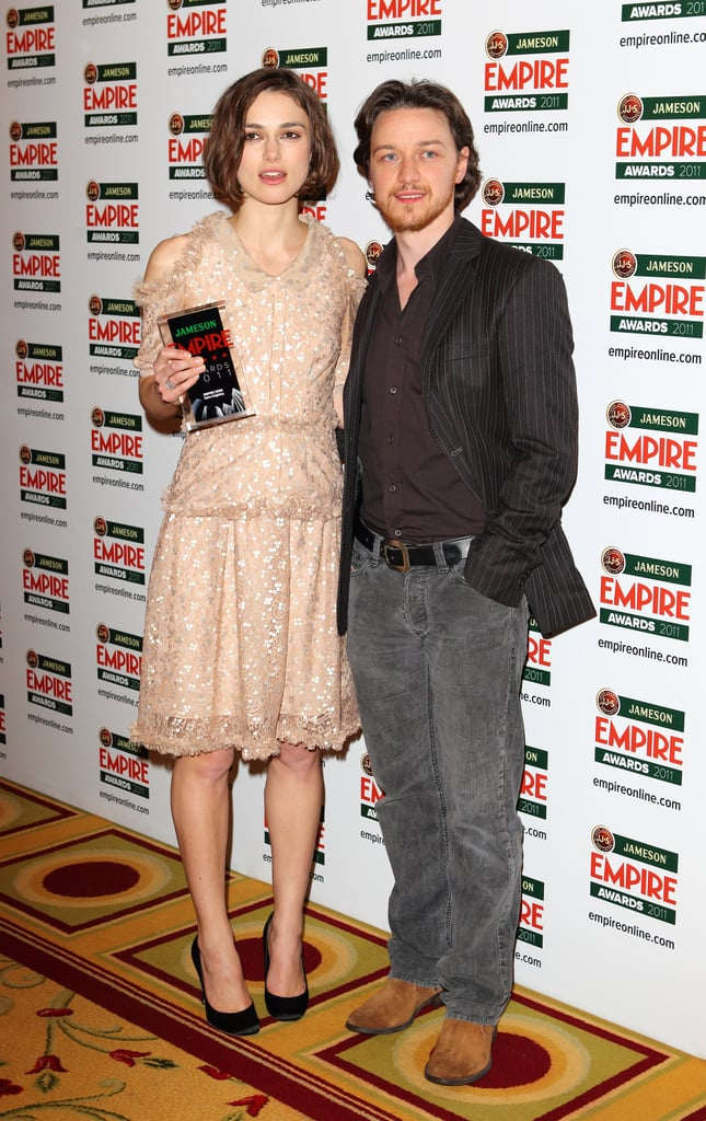 Keira Knightley and James McAvoy teamed up in London last night at the Jameson Empire Awards. The actors were on hand for the annual celebration of British filmmaking, where a Rodarte-clad Keira was honored with the Hero award. Keira may be best known for her movie roles, but she has been focusing on her part in The Children's Hour and her role as the face of Coco Mademoiselle perfumes lately. She posed with fellow model Lily Cole on the red carpet yesterday before the ceremony. Lily smiled for the cameras despite a late Friday out at The Box with her rumored new guy, Jude Law. The pair, who dated previously, have been spotted getting cozy since his recent split from Sienna Miller.