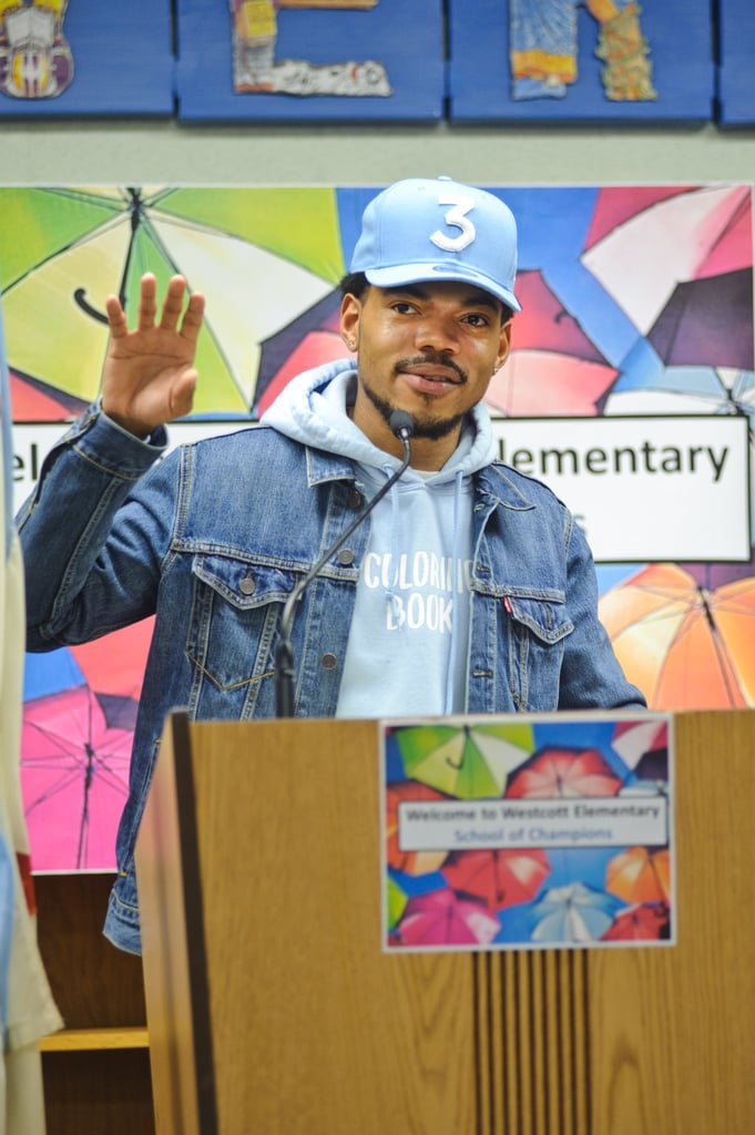 """If you aren't already obsessed with Chance the Rapper, you're about to be. On Monday, the Grammy winner held a press conference at Westcott Elementary School to announce his plans to donate $1 million to Chicago Public Schools, the third largest school district in the country. His announcement comes days after he met with Illinois Governor Bruce Rauner to talk about school funding. """"Today I'm proud to announce that I am donating $1 million to CPS to support arts and enriching programming,"""" the 23-year-old rapper said. """"I'm excited to share that this donation was made possible by my fans.""""   Chance's kind act certainly didn't go unnoticed; hours later, Michelle Obama gave him a sweet shout-out on Twitter, calling him """"an example of the power of arts education.""""   Thanks @chancetherapper for giving back to the Chicago community, which gave us so much. You are an example of the power of arts education.— Michelle Obama (@MichelleObama) March 6, 2017    Chance tweeted on Friday that he had a plan on Monday morning to fund relief for Chicago Public Schools, and he definitely followed through."""