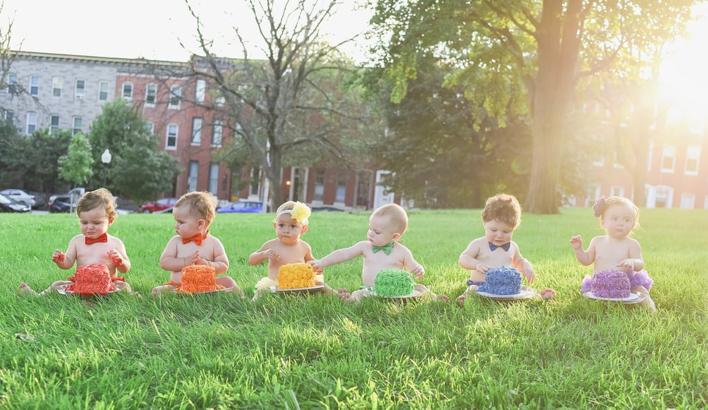 """When Alicia Lewis, a mom of two from Baltimore, signed up for a prenatal fitness class, she had no idea that she would become friends with five soon-to-be moms who would help her navigate one of the most difficult things she's ever experienced: inexplicably giving birth to a stillborn son, Frankie. After getting pregnant again with her daughter, Alicia learned that some of the other women in her new friend group had also suffered the loss of a child, and the shared experience only strengthened their bond.  So as soon as Alicia gave birth to a healthy daughter named Charlie in August 2017, she knew she already had a support system — all five of her friends gave birth within the same month. To celebrate her beautiful rainbow baby, Alicia invited her friends to do a rainbow-themed cake smash with photographer Jessica Carr, and it's safe to say the pictures are amazing.      Related:                                                                                                           Mom's Reaction to Holding Her Newborn Rainbow Baby Is So Powerful               Jessica told POPSUGAR that helping Alicia celebrate her rainbow baby really hit home.  """"Our second child is our rainbow baby as we had a late-term pregnancy loss in between our boys, so this was also personal and emotional for me,"""" Jessica said. """"It was so heartwarming to see all these mommas being such close friends and learning how they supported Alicia through her pregnancy with Charlie. They didn't shy away after knowing her story. That's the number one thing you worry about after an infant loss, is that you'll share with others and they'll be freaked out or uncomfortable.""""  Although the pictures turned out perfectly, Jessica admitted she was a little intimidated about having a shoot with six little ones.  """"I was definitely a little apprehensive at first,"""" Jess said, adding, """"But the moms were great at keeping in mind we had six babies and six personalities in play, and luckily we were able to get a grea"""